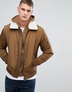 Куртка со съемным воротником из искусственного меха Selected Homme - Коричневый