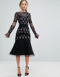 Платье миди с декоративной отделкой Frock and Frill - Черный