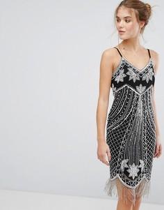 Платье мини с декоративной отделкой Frock and Frill - Темно-синий