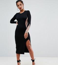 Платье миди с сетчатой вставкой и принтом паутины на спине ASOS PETITE HALLOWEEN - Черный