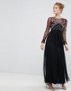 Премиум-платье макси с длинными рукавами и вышивкой Frock And Frill - Черный