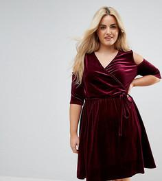 Платье мини с вырезами на плечах и запахом Pink Clove - Красный