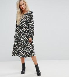 Свободное платье с цветочным принтом Glamorous Petite - Черный