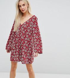 Чайное платье с длинными рукавами и цветочным принтом Glamorous Petite - Красный