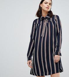 Платье-рубашка в полоску с длинными рукавами Glamorous Tall - Черный