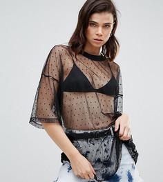 Cетчатая oversize-футболка в горошек Glamorous Tall - Черный