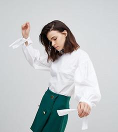 Свободная блузка с оборками и завязками на манжетах Glamorous Tall - Белый