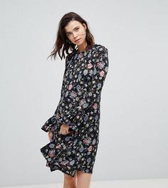 Платье А-силуэта с расклешенными манжетами и цветочным принтом Glamorous Tall - Черный