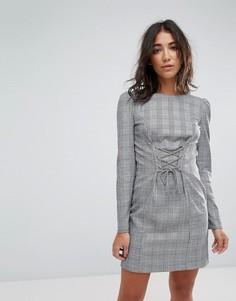 Платье в клетку Miss Selfridge - Белый