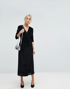 Платье миди с запахом и плиссировкой Vila - Черный