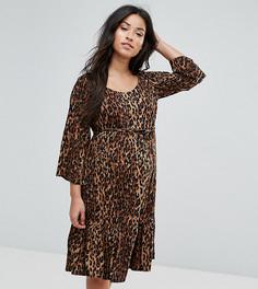 Короткое приталенное платье с леопардовым принтом Mamalicious - Мульти Mama.Licious