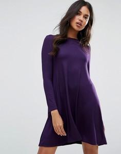 Свободное платье с длинными рукавами Boohoo - Фиолетовый