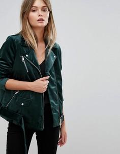 Байкерская куртка из бархата Vero Moda - Зеленый
