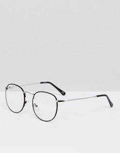 Круглые очки с прозрачными стеклами в черной металлической оправе ASOS - Черный