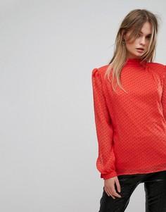 Блузка в горошек с высоким воротом Vila - Красный