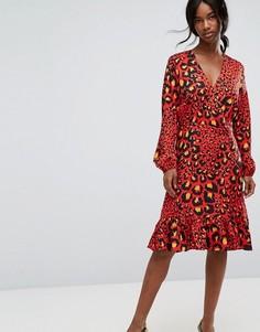 Красное платье с запахом и леопардовым принтом Gestuz Gabriella - Красный