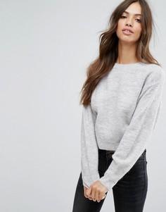 Укороченный вязаный джемпер New Look - Серый