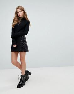 Полиуретановая мини-юбка со шнуровкой New Look - Черный
