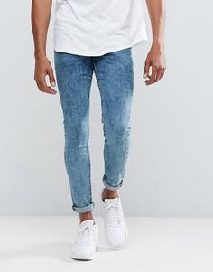 Синие зауженные джинсы из мраморного денима New Look - Темно-синий
