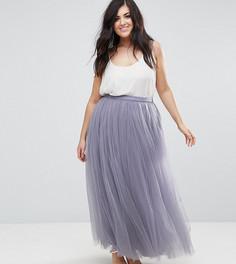 Юбка макси из тюля Little Mistress Plus - Фиолетовый