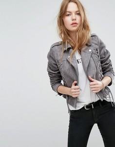 Байкерская куртка из искусственной замши со шнуровкой New Look - Серый
