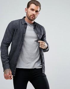Черная джинсовая рубашка классического кроя с эффектом кислотной стирки New Look - Черный