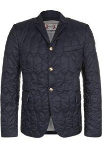 Стеганая пуховая куртка на пуговицах с отложным воротником Moncler