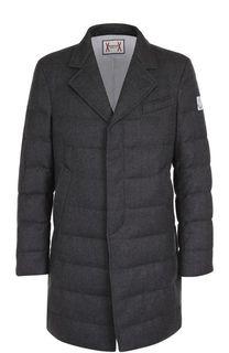 Шерстяной пуховое пальто с отложным воротником Moncler