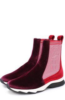 Высокие бархатные кроссовки на контрастной подошве Fendi