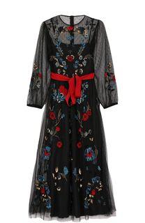 Приталенное платье-миди с контрастным поясом и вышивкой REDVALENTINO