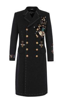 Шерстяной двубортное пальто с отделкой Dolce & Gabbana