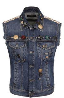 Джинсовый жилет с потертостями и декоративной отделкой Dolce & Gabbana