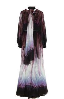 Шелковое платье-макси с воротником аскот и поясом Elie Saab
