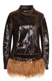 Кожаная куртка с воротником-стойкой и косой молнией Dorothee Schumacher