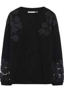 Пуловер из смеси шерсти и кашемира с кружевными вставками Alice + Olivia