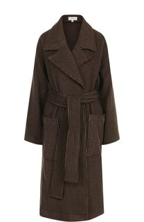 Пальто из смеси шерсти и кашемира с поясом Isa Arfen