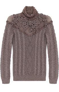 Пуловер фактурной вязки с воротником-стойкой Valentino