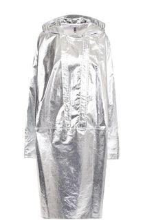 Пальто свободного кроя с металлизированной отделкой Paco Rabanne