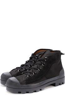 Высокие текстильные ботинки на шнуровке с замшевой отделкой Acne Studios