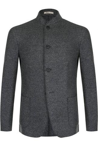 Однобортный шерстяной пиджак с воротником-стойкой Armani Collezioni