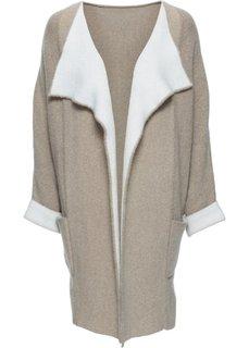 Пальто с долей шерсти (бежевый/белый) Bonprix