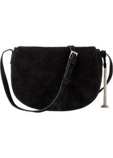 Кожаная сумка через плечо с металлической кисточкой (черный/серебристый) Bonprix