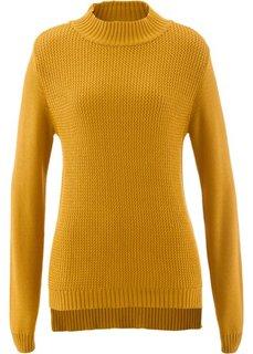 Пуловер с воротником-стойкой и структурным узором (медовый) Bonprix