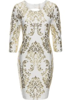 Платье с пайетками (белый твил/золотистый) Bonprix
