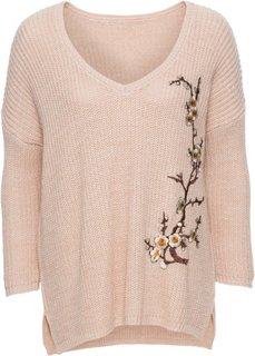 Вязаный пуловер с вышивкой (розовый) Bonprix