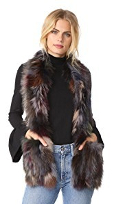 Jocelyn Fur Scarf With Pockets