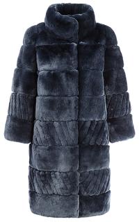 Шуба из меха кролика с отделкой натуральной замшей Virtuale Fur Collection