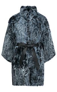 Утепленный жакет из меха козлика с кожаным поясом Virtuale Fur Collection