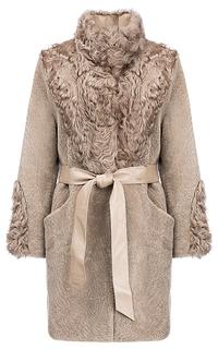 Утепленное пальто из овчины с отделкой мехом козлика Virtuale Fur Collection