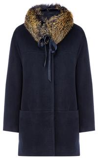 Утепленное шерстяное пальто с отделкой мехом песца Gamelia Experience